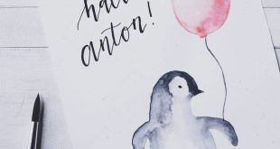 Baby Pinguin #diy #watercolor #watercolorpainting #aquarell #babyboy